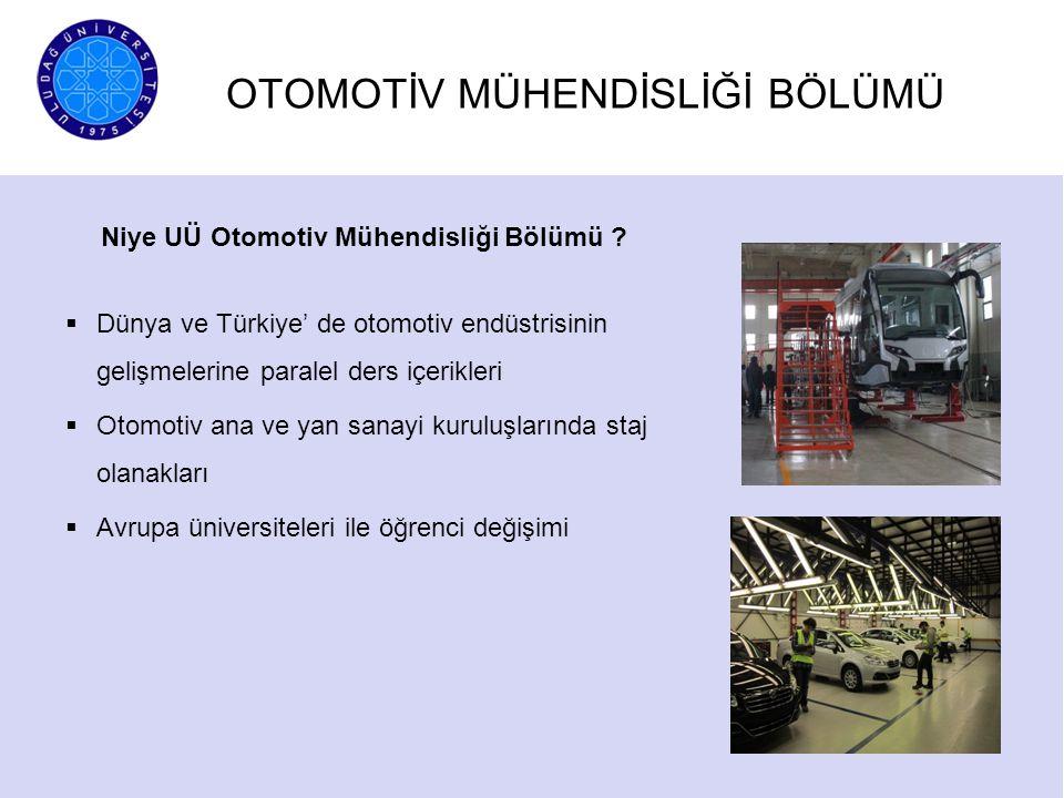 OTOMOTİV MÜHENDİSLİĞİ BÖLÜMÜ Niye UÜ Otomotiv Mühendisliği Bölümü ?  Dünya ve Türkiye' de otomotiv endüstrisinin gelişmelerine paralel ders içerikler