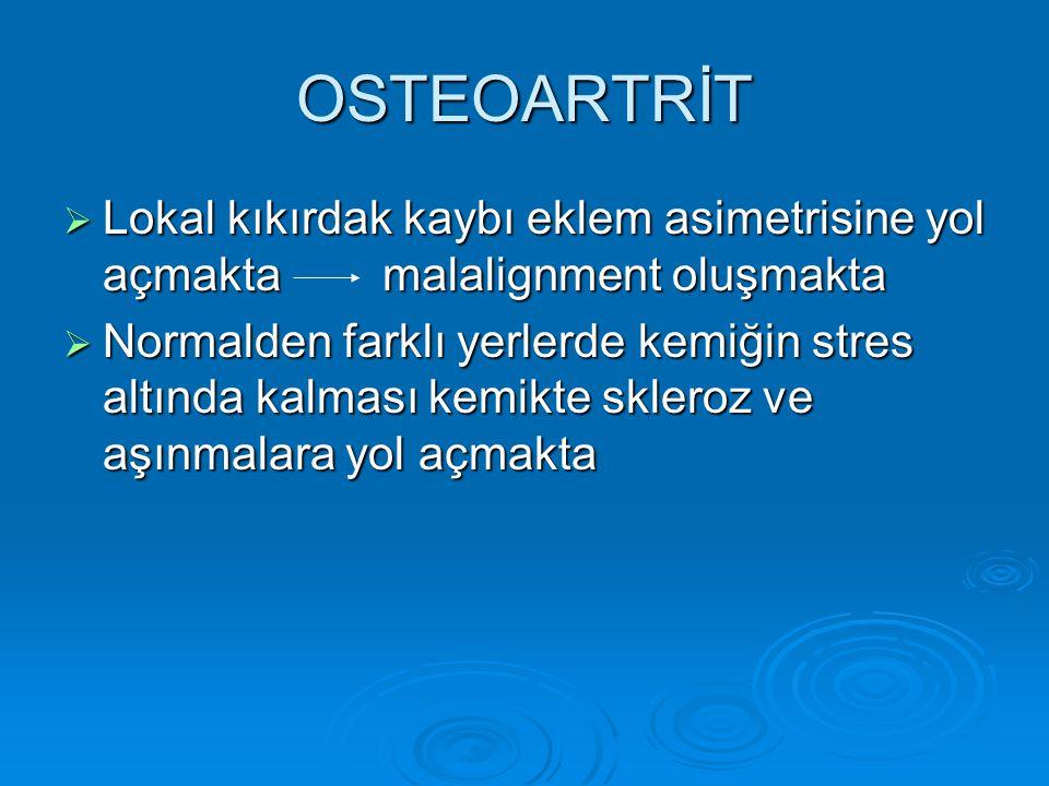 OSTEOARTRİT  Lokal kıkırdak kaybı eklem asimetrisine yol açmakta malalignment oluşmakta  Normalden farklı yerlerde kemiğin stres altında kalması kem
