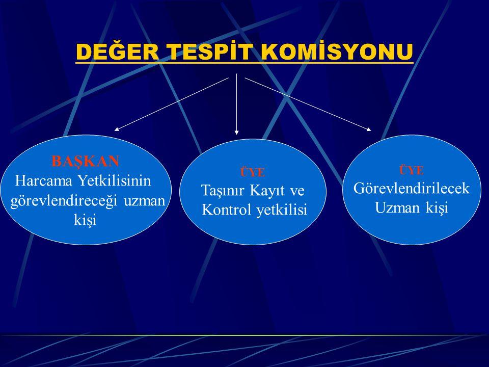 Değer Tespit Komisyonu (MD:13) Değer tespit komisyonları; Harcama Yetkilisi onayı ile kurulur. Değer tespit komisyonları; Taşınır kayıt ve kontrol yet