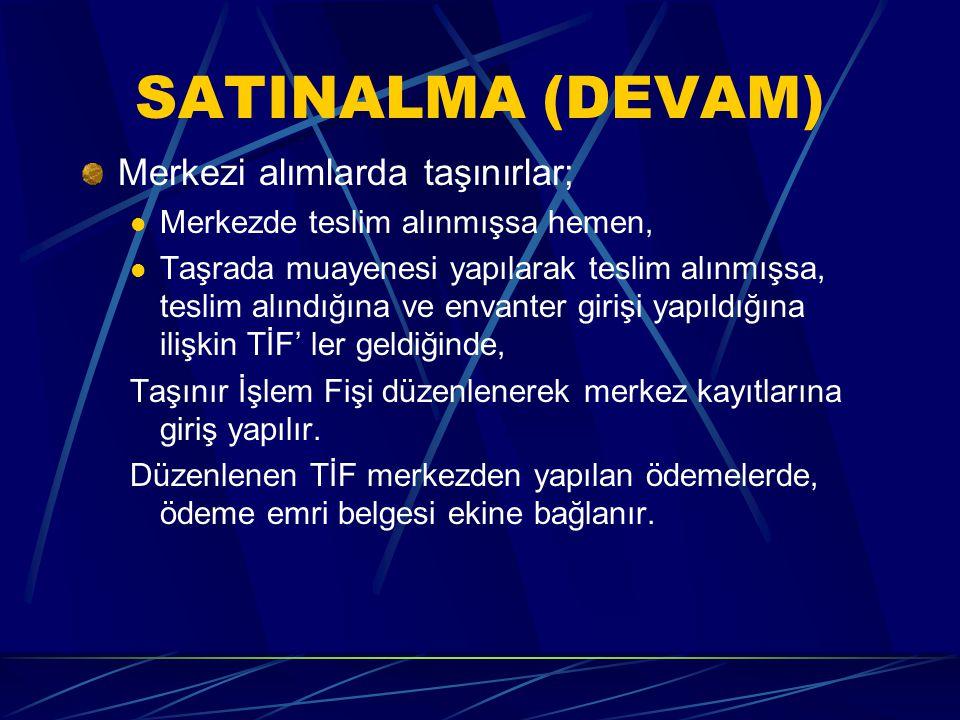 """SATINALMA (DEVAM) Muayene ve kabul işlemine tabi ise; """"Taşınır Geçici Alındısı"""" (Örnek:9) düzenlenir ve emanet olarak alınır. Kayıtlara alınmaz. Kulla"""