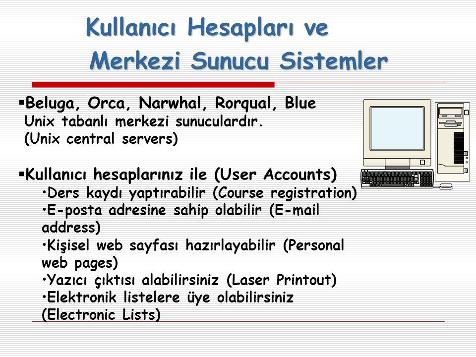 Merkezi Sunucu Sistemler  Beluga, Orca, Narwhal, Rorqual, Blue Unix tabanlı merkezi sunuculardır.