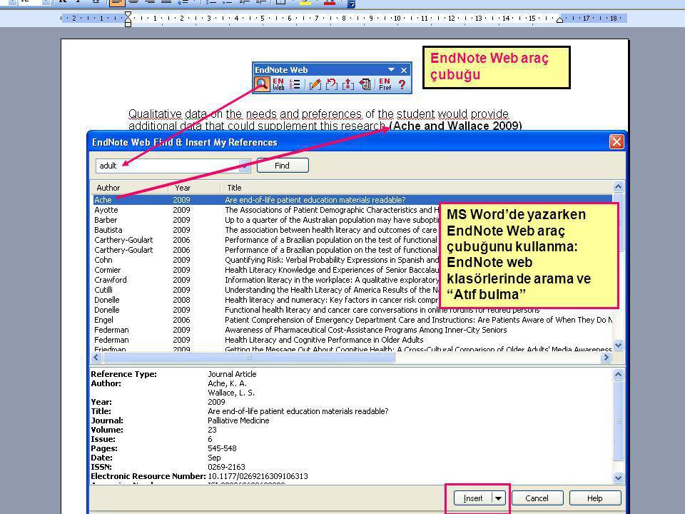 """MS Word'de yazarken EndNote Web araç çubuğunu kullanma: EndNote web klasörlerinde arama ve """"Atıf bulma"""" EndNote Web araç çubuğu"""