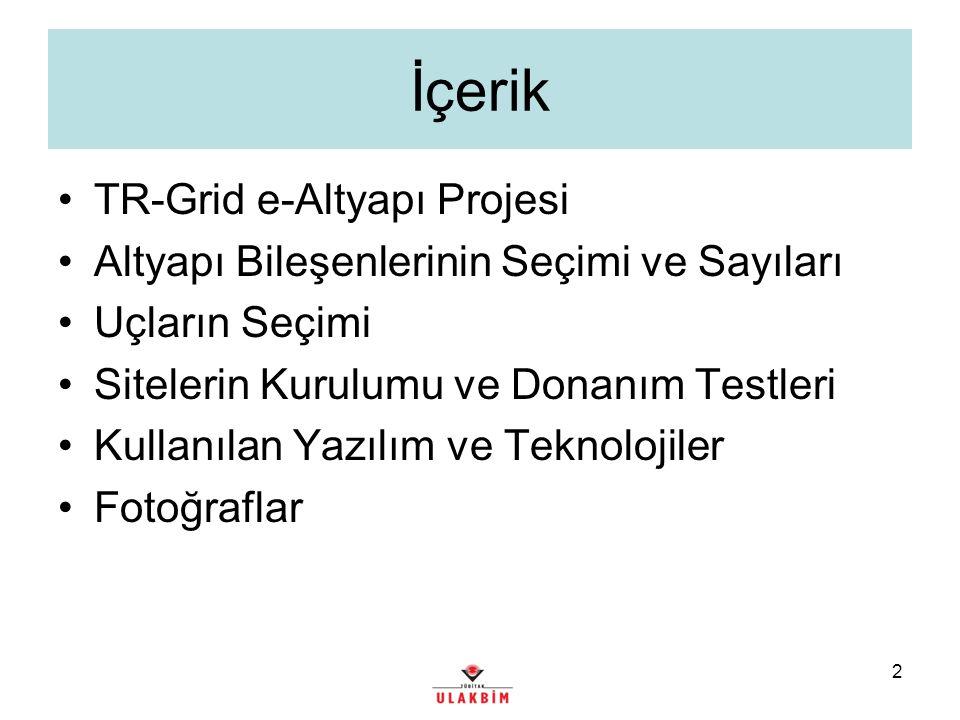 2 İçerik TR-Grid e-Altyapı Projesi Altyapı Bileşenlerinin Seçimi ve Sayıları Uçların Seçimi Sitelerin Kurulumu ve Donanım Testleri Kullanılan Yazılım ve Teknolojiler Fotoğraflar