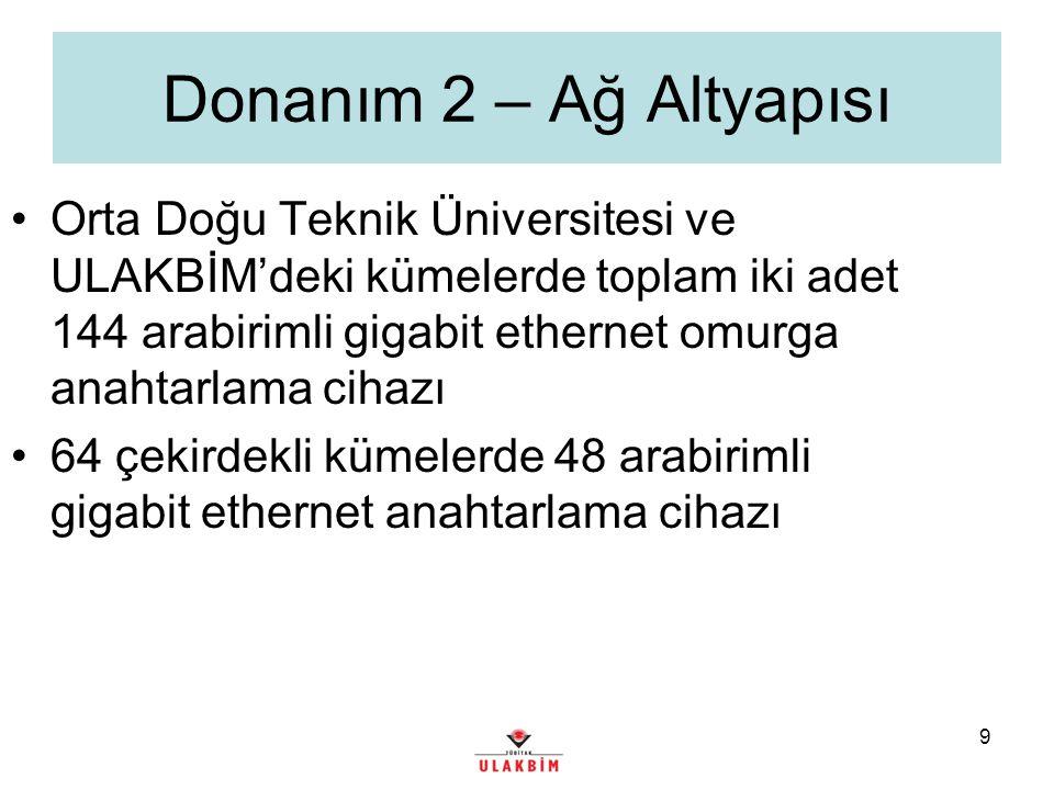 9 Donanım 2 – Ağ Altyapısı Orta Doğu Teknik Üniversitesi ve ULAKBİM'deki kümelerde toplam iki adet 144 arabirimli gigabit ethernet omurga anahtarlama cihazı 64 çekirdekli kümelerde 48 arabirimli gigabit ethernet anahtarlama cihazı