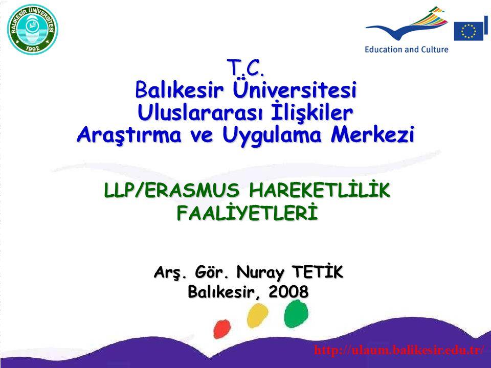 http://ulaum.balikesir.edu.tr/ T.C. Balıkesir Üniversitesi Uluslararası İlişkiler Araştırma ve Uygulama Merkezi LLP/ERASMUS HAREKETLİLİK FAALİYETLERİ