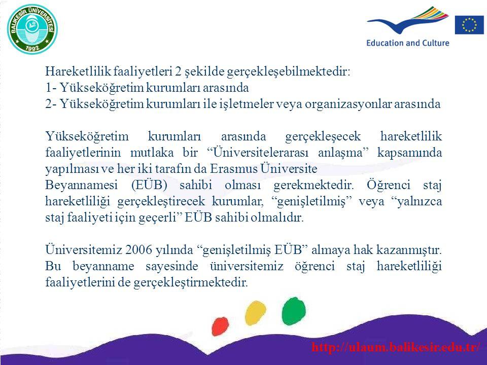 http://ulaum.balikesir.edu.tr/ Hareketlilik faaliyetleri 2 şekilde gerçekleşebilmektedir: 1- Yükseköğretim kurumları arasında 2- Yükseköğretim kurumla