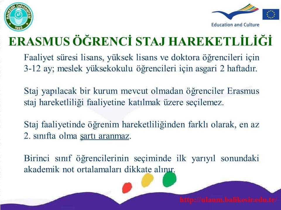http://ulaum.balikesir.edu.tr/ ERASMUS ÖĞRENCİ STAJ HAREKETLİLİĞİ Faaliyet süresi lisans, yüksek lisans ve doktora öğrencileri için 3-12 ay; meslek yü