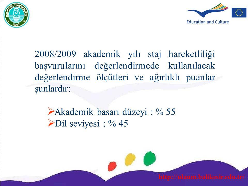 http://ulaum.balikesir.edu.tr/ 2008/2009 akademik yılı staj hareketliliği başvurularını değerlendirmede kullanılacak değerlendirme ölçütleri ve ağırlı