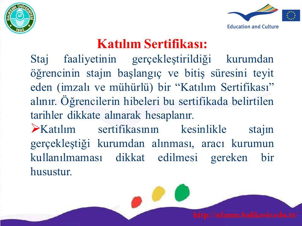 http://ulaum.balikesir.edu.tr/ Katılım Sertifikası: Staj faaliyetinin gerçekleştirildiği kurumdan öğrencinin stajın başlangıç ve bitiş süresini teyit