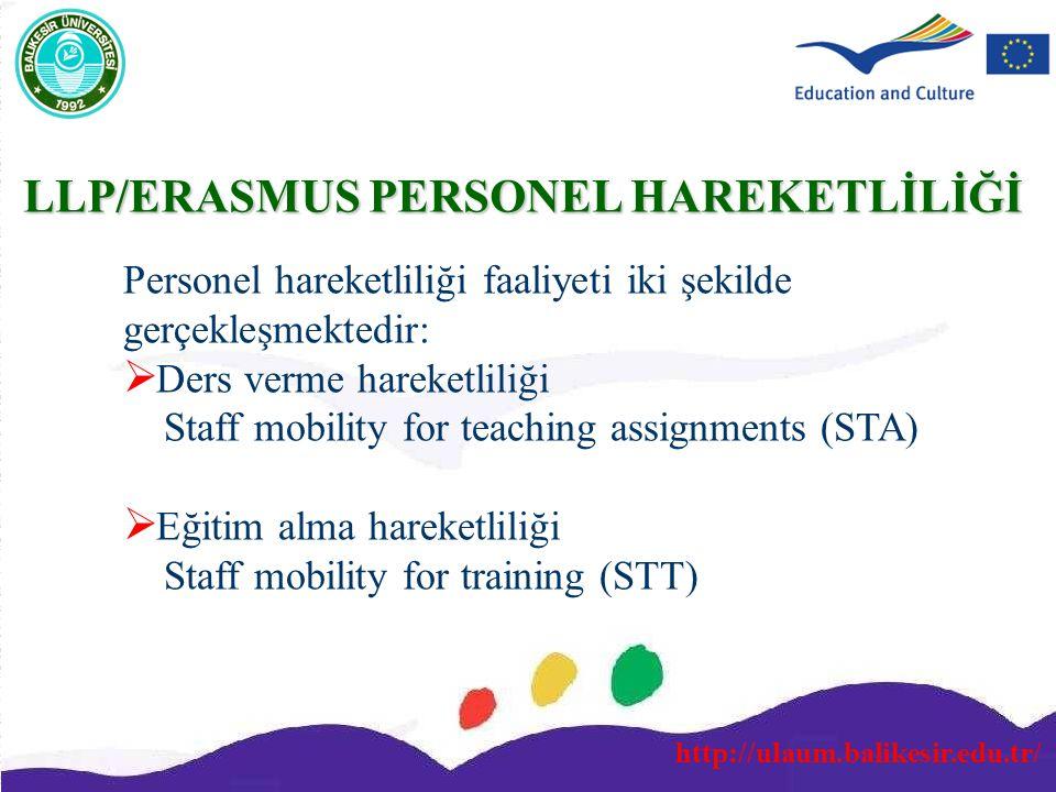 http://ulaum.balikesir.edu.tr/ Personel hareketliliği faaliyeti iki şekilde gerçekleşmektedir:  Ders verme hareketliliği Staff mobility for teaching