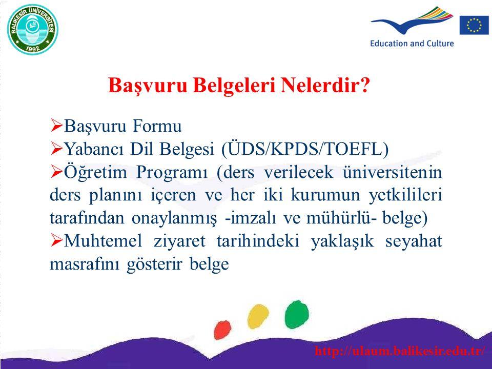 http://ulaum.balikesir.edu.tr/ Başvuru Belgeleri Nelerdir?  Başvuru Formu  Yabancı Dil Belgesi (ÜDS/KPDS/TOEFL)  Öğretim Programı (ders verilecek ü