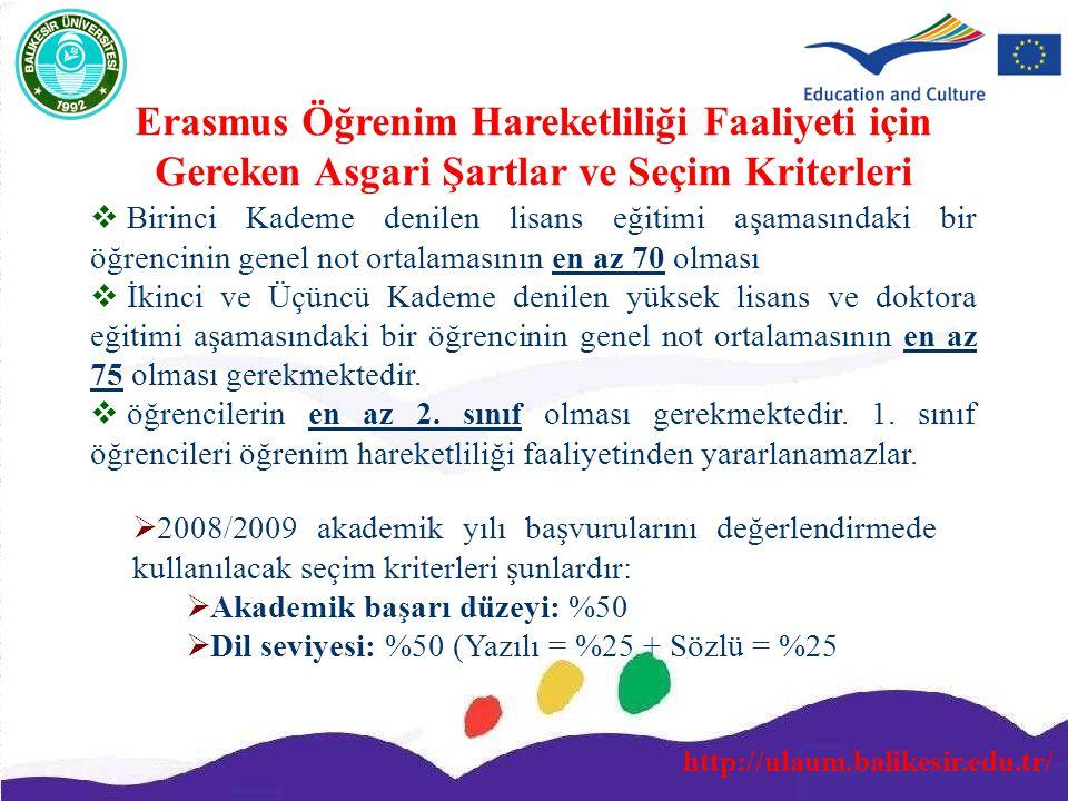 http://ulaum.balikesir.edu.tr/ Erasmus Öğrenim Hareketliliği Faaliyeti için Gereken Asgari Şartlar ve Seçim Kriterleri  Birinci Kademe denilen lisans