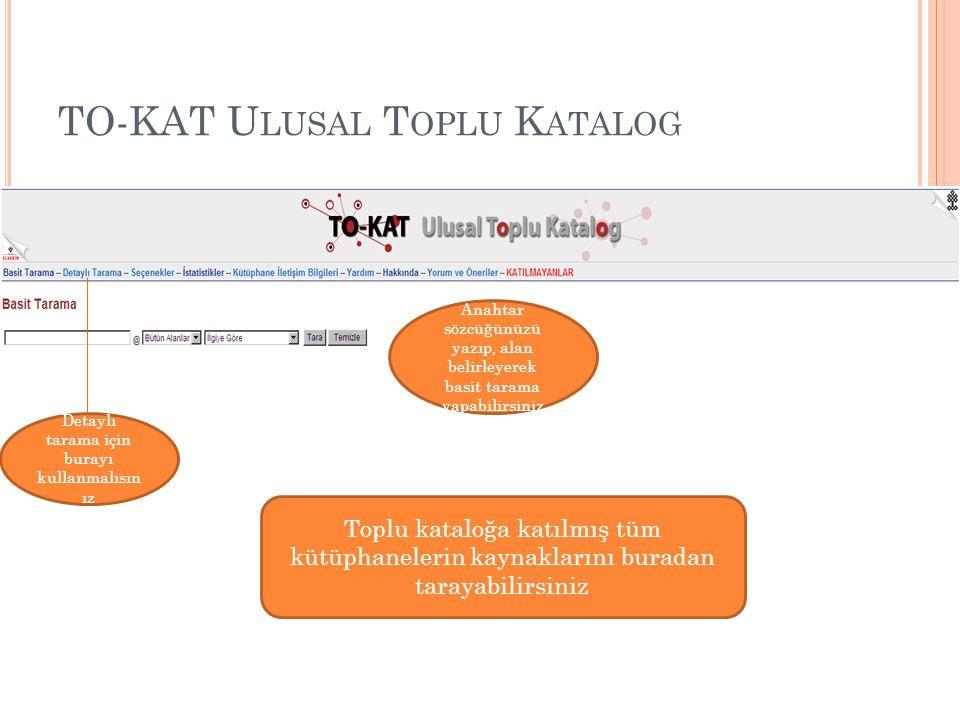 TO-KAT U LUSAL T OPLU K ATALOG Detaylı taramada, birden fazla alandan anahtar sözcükler tarayabilir, taramak istediğiniz kütüphaneyi seçebilir, yayın türünü, kaynağın yayın dilini, yayınlanan tarih aralığını belirleyebilirsiniz