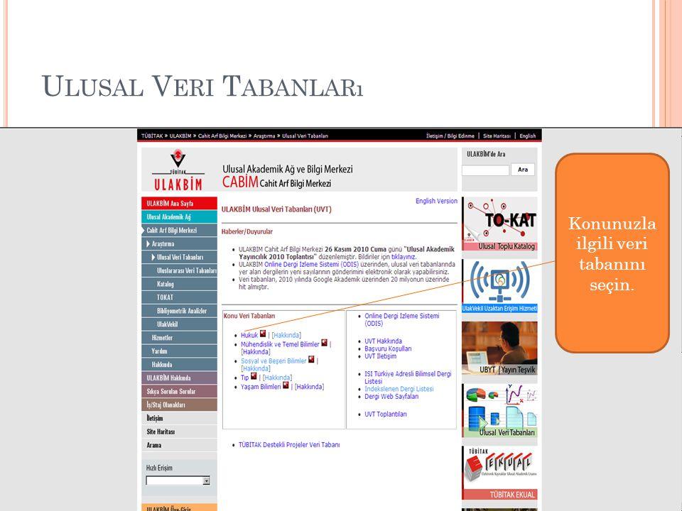 U LUSAL V ERI T ABANLARı Konunuzla ilgili veri tabanını seçin.