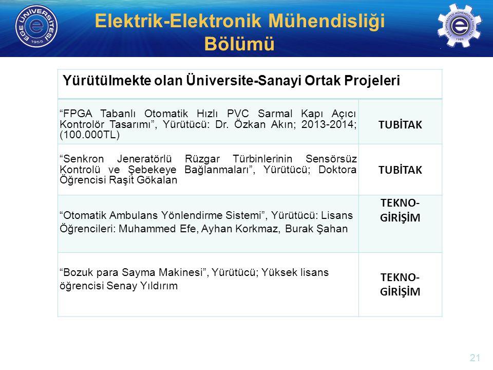 """http://electronics.ege.edu.tr Elektrik-Elektronik Mühendisliği Bölümü Yürütülmekte olan Üniversite-Sanayi Ortak Projeleri """"FPGA Tabanlı Otomatik Hızlı"""