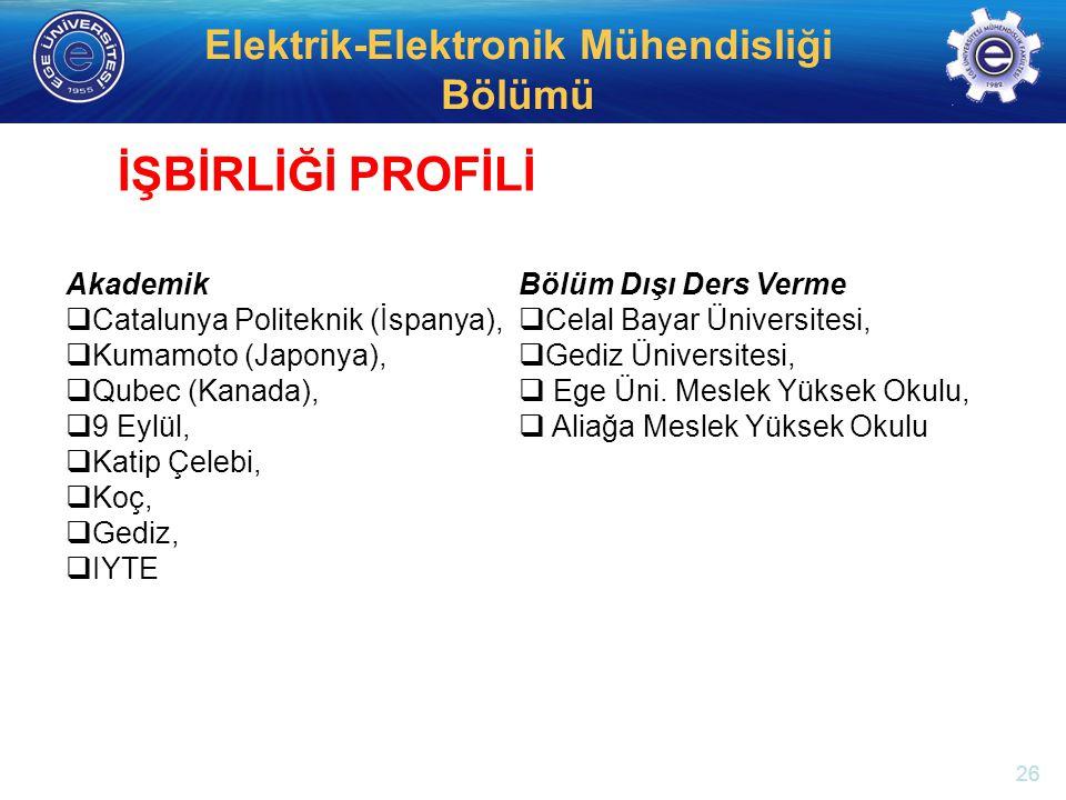 http://electronics.ege.edu.tr Elektrik-Elektronik Mühendisliği Bölümü Akademik  Catalunya Politeknik (İspanya),  Kumamoto (Japonya),  Qubec (Kanada