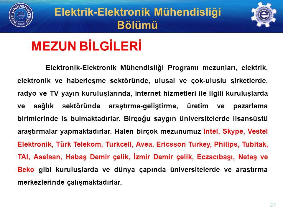 http://electronics.ege.edu.tr Elektrik-Elektronik Mühendisliği Bölümü Elektronik-Elektronik Mühendisliği Programı mezunları, elektrik, elektronik ve h