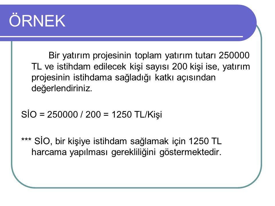 ÖRNEK Bir yatırım projesinin toplam yatırım tutarı 250000 TL ve istihdam edilecek kişi sayısı 200 kişi ise, yatırım projesinin istihdama sağladığı kat