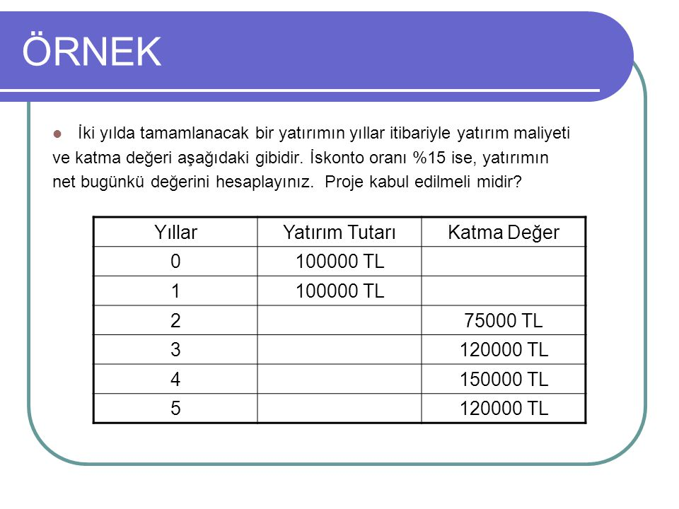 NBD = 280830 – 186957 = 93873 TL NBD > 0 olduğu için proje KABUL.