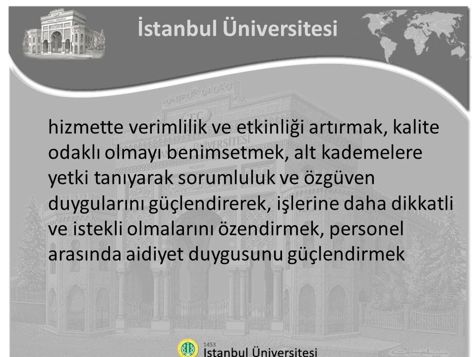 İstanbul Üniversitesi hizmette verimlilik ve etkinliği artırmak, kalite odaklı olmayı benimsetmek, alt kademelere yetki tanıyarak sorumluluk ve özgüve