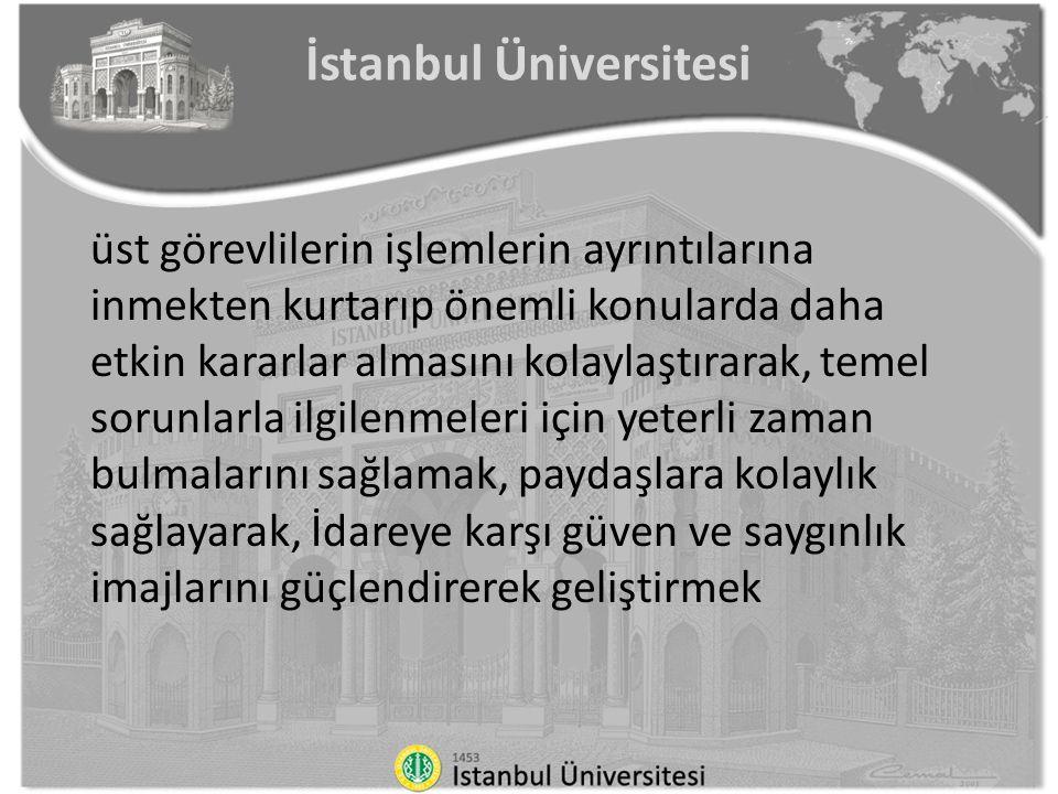 İstanbul Üniversitesi üst görevlilerin işlemlerin ayrıntılarına inmekten kurtarıp önemli konularda daha etkin kararlar almasını kolaylaştırarak, temel