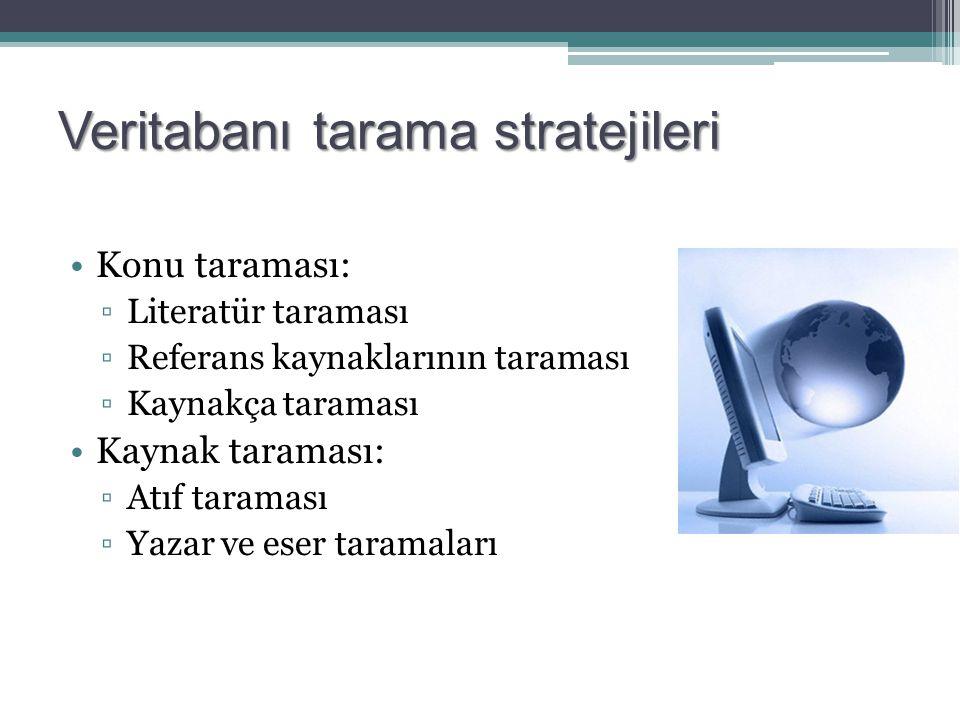 Veritabanı tarama stratejileri Konu taraması: ▫Literatür taraması ▫Referans kaynaklarının taraması ▫Kaynakça taraması Kaynak taraması: ▫Atıf taraması ▫Yazar ve eser taramaları
