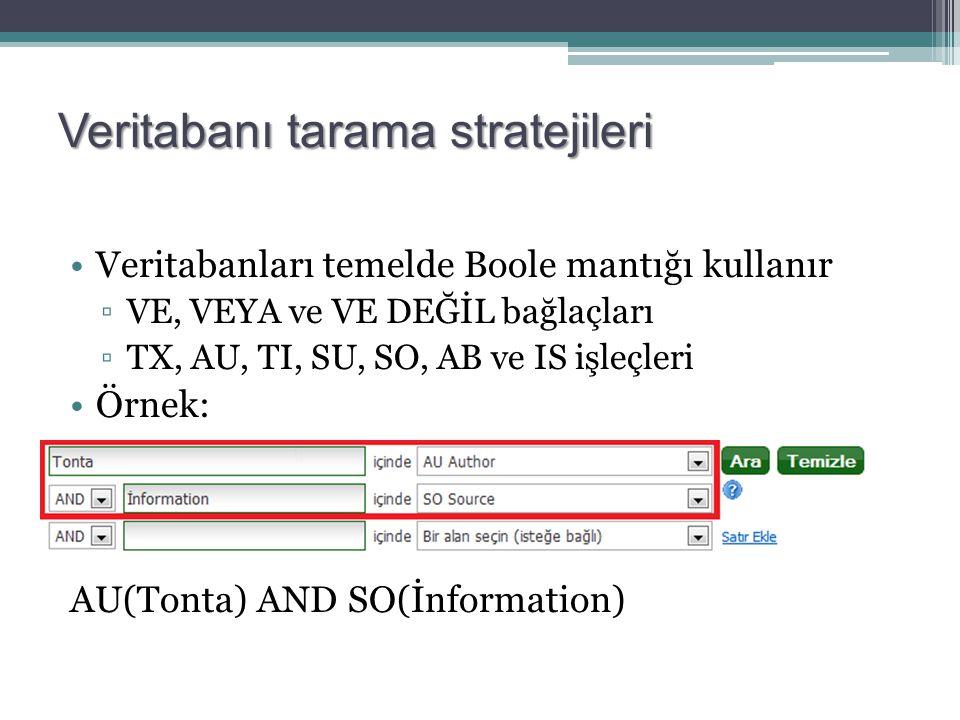 Veritabanı tarama stratejileri Veritabanları temelde Boole mantığı kullanır ▫VE, VEYA ve VE DEĞİL bağlaçları ▫TX, AU, TI, SU, SO, AB ve IS işleçleri Örnek: AU(Tonta) AND SO(İnformation)