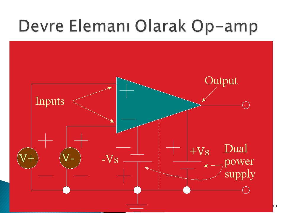  Özellikleri ◦ Sonsuz kazanç (A=∞) ◦ v 1 = v 2 ise V 0 = 0 ◦ Giriş empedansı sonsuz ◦ Çıkış empedansı sıfır ◦ Bant genişliği sonsuz ve faz kayması yo