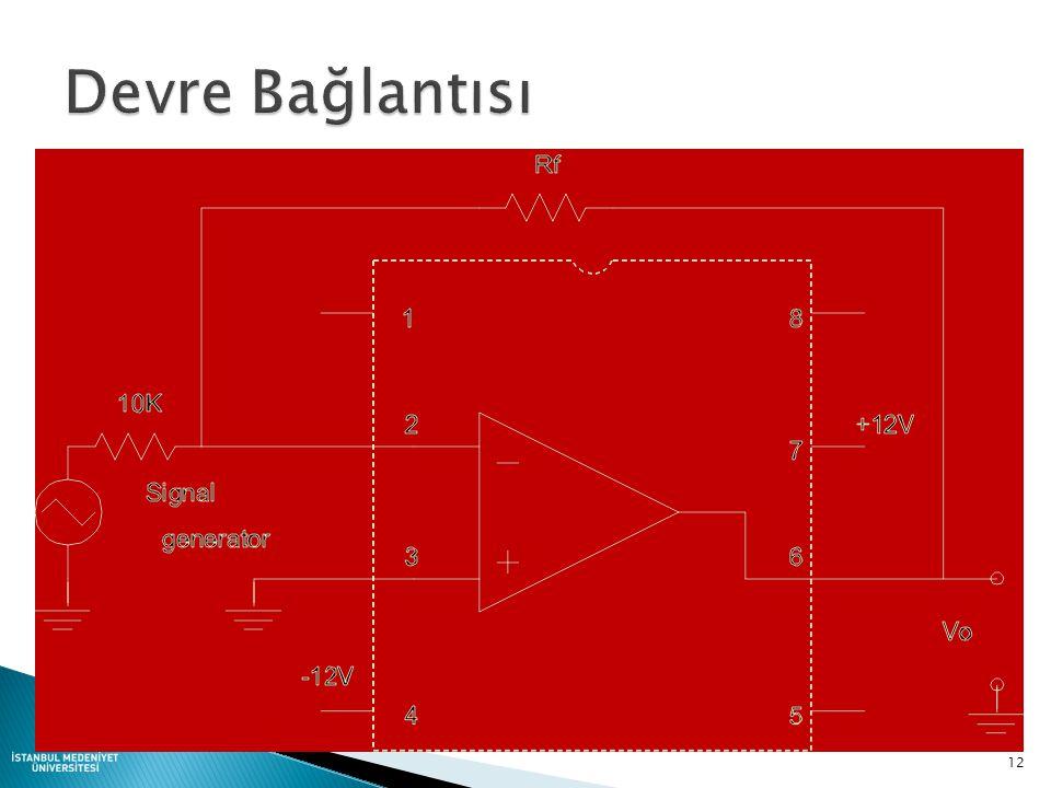 V0V0 ViVi A + - R1R1 RfRf I Sanal (Virtual) toprak Gerçek toprak I = V i / R 1 V 0 = - ( R f / R 1 ) * V i 11