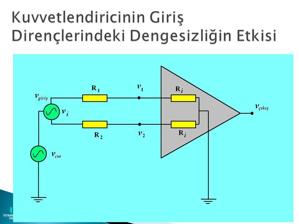 30 R i3 =V 3 /I 3 = R 3 R i4 =V 4 /I 4 = R 3 + R 4 G d =V 0 /V d = R 4 / R 3 G C =V 0 /V CM = Deneysel olarak bulunur CMRR = G d /G C