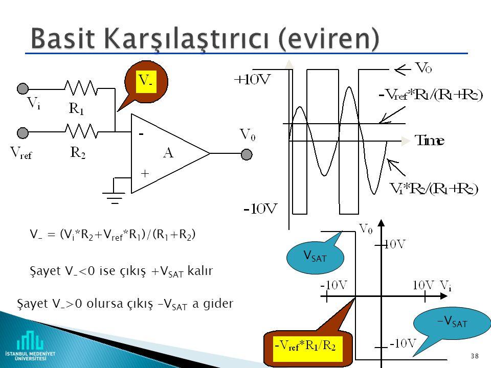  V 0 =A(V 2 -V 1 )  V 0 = 0 şayet V 1 = V 2  V 0 = +V SAT şayet V 1 < V 2  V 0 = -V SAT şayet V 1 > V 2  Op-amp'in girişlerinden akım akmaz. 37