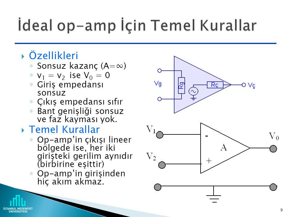  Özellikleri ◦ Sonsuz kazanç (A=∞) ◦ v 1 = v 2 ise V 0 = 0 ◦ Giriş empedansı sonsuz ◦ Çıkış empedansı sıfır ◦ Bant genişliği sonsuz ve faz kayması yok.