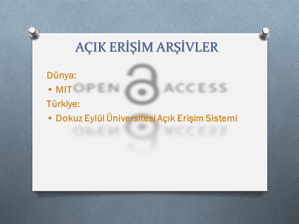 AÇIK ERİŞİM ARŞİVLER Dünya: MIT Türkiye: Dokuz Eylül Üniversitesi Açık Erişim Sistemi