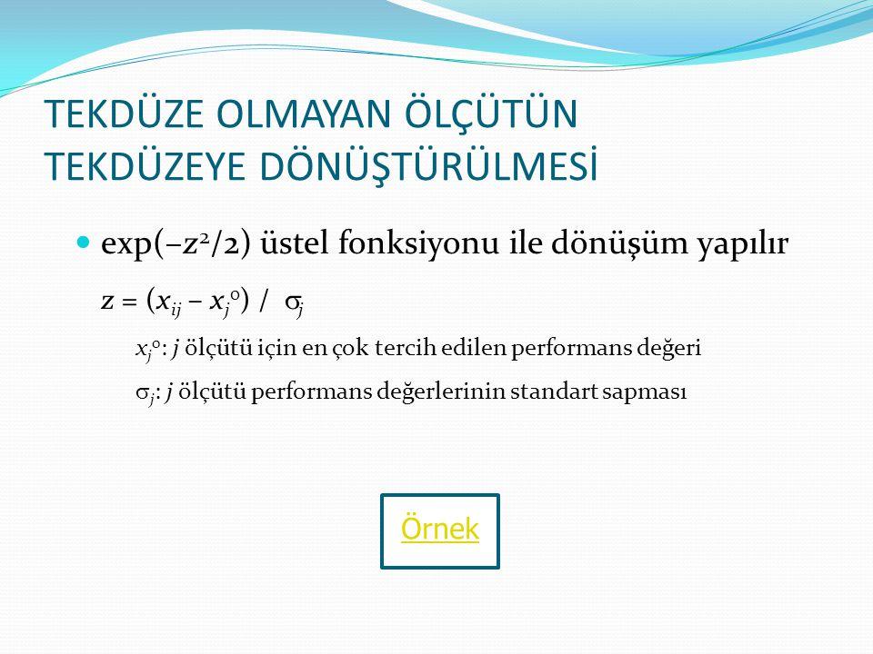 TEKDÜZE OLMAYAN ÖLÇÜTÜN TEKDÜZEYE DÖNÜŞTÜRÜLMESİ exp(–z 2 /2) üstel fonksiyonu ile dönüşüm yapılır z = (x ij – x j 0 ) /  j x j 0 : j ölçütü için en