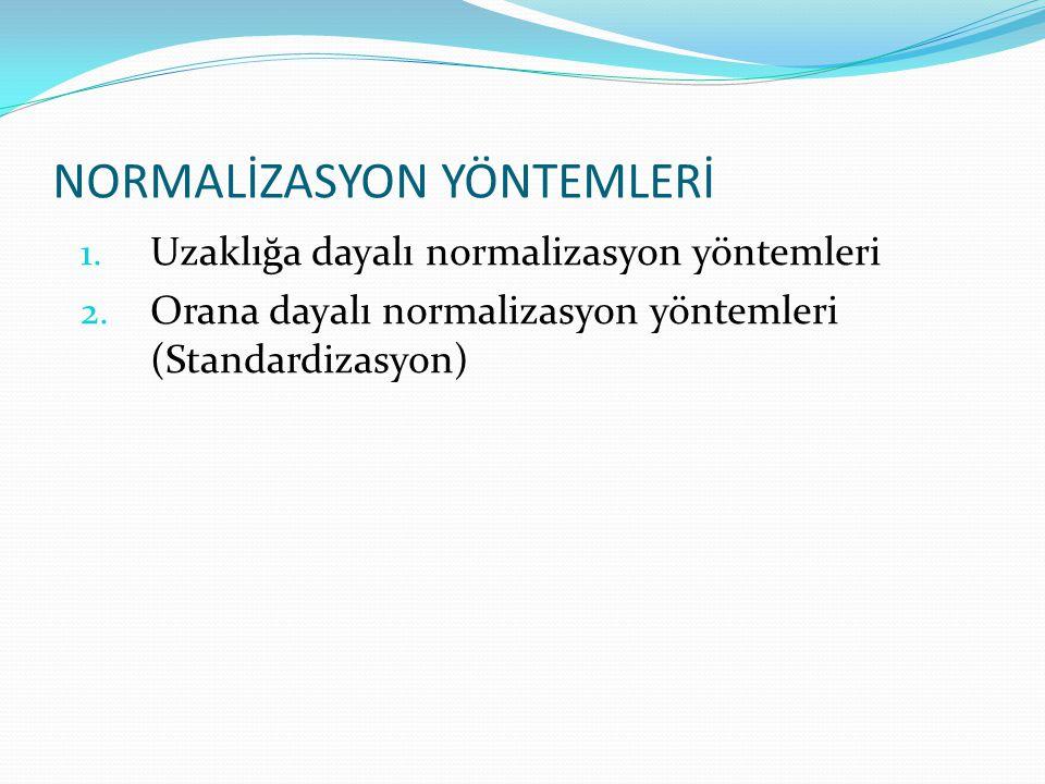 NORMALİZASYON YÖNTEMLERİ 1. Uzaklığa dayalı normalizasyon yöntemleri 2. Orana dayalı normalizasyon yöntemleri (Standardizasyon)