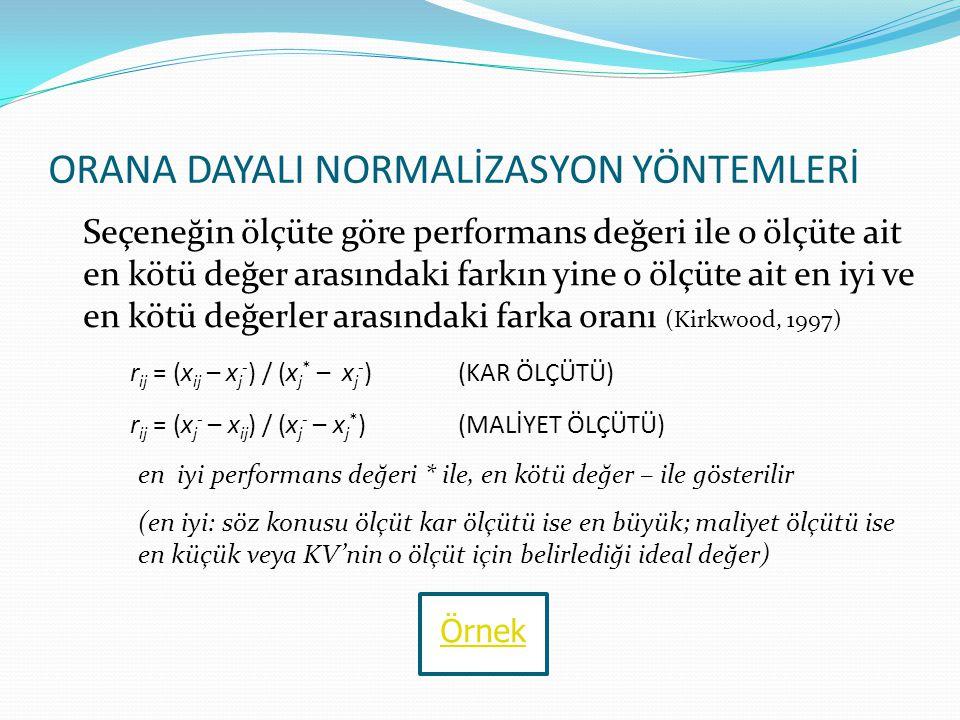 TEKDÜZE OLMAYAN ÖLÇÜTÜN TEKDÜZEYE DÖNÜŞTÜRÜLMESİ exp(–z 2 /2) üstel fonksiyonu ile dönüşüm yapılır z = (x ij – x j 0 ) /  j x j 0 : j ölçütü için en çok tercih edilen performans değeri  j : j ölçütü performans değerlerinin standart sapması Örnek