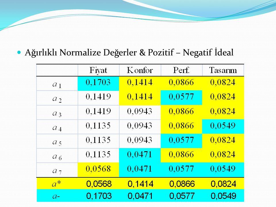 Ağırlıklı Normalize Değerler & Pozitif – Negatif İdeal