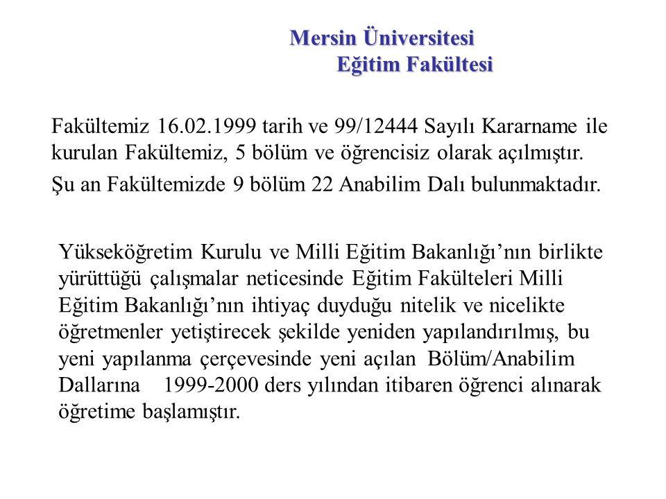 Mersin Üniversitesi Eğitim Fakültesi Fakültemiz 16.02.1999 tarih ve 99/12444 Sayılı Kararname ile kurulan Fakültemiz, 5 bölüm ve öğrencisiz olarak açılmıştır.