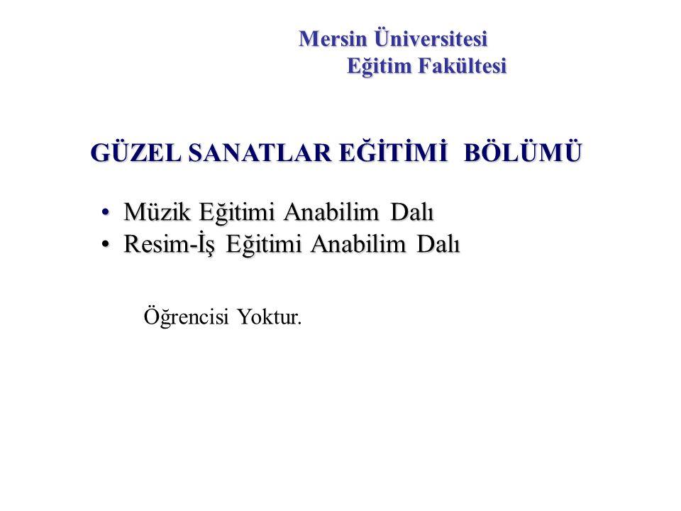 Mersin Üniversitesi Eğitim Fakültesi GÜZEL SANATLAR EĞİTİMİ BÖLÜMÜ Öğrencisi Yoktur.