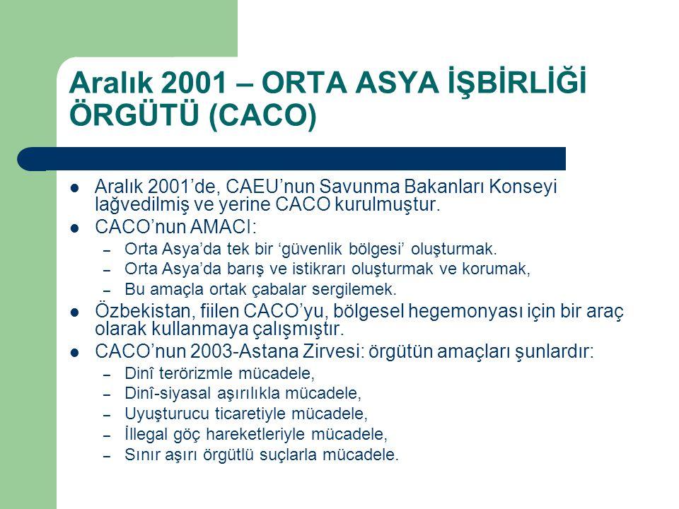 Aralık 2001 – ORTA ASYA İŞBİRLİĞİ ÖRGÜTÜ (CACO) Aralık 2001'de, CAEU'nun Savunma Bakanları Konseyi lağvedilmiş ve yerine CACO kurulmuştur. CACO'nun AM
