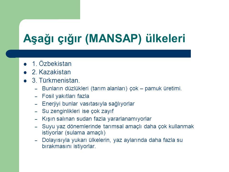 Aşağı çığır (MANSAP) ülkeleri 1. Özbekistan 2. Kazakistan 3. Türkmenistan. – Bunların düzlükleri (tarım alanları) çok – pamuk üretimi. – Fosil yakıtla