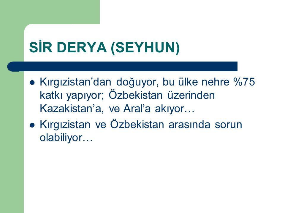 SİR DERYA (SEYHUN) Kırgızistan'dan doğuyor, bu ülke nehre %75 katkı yapıyor; Özbekistan üzerinden Kazakistan'a, ve Aral'a akıyor… Kırgızistan ve Özbek