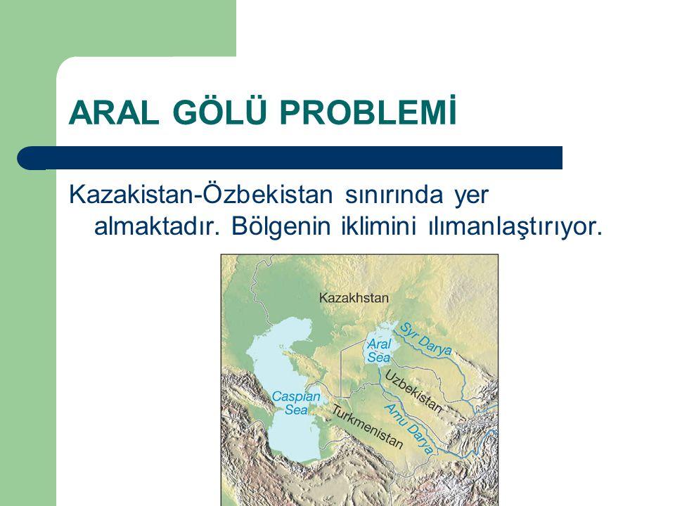 ARAL GÖLÜ PROBLEMİ Kazakistan-Özbekistan sınırında yer almaktadır. Bölgenin iklimini ılımanlaştırıyor.