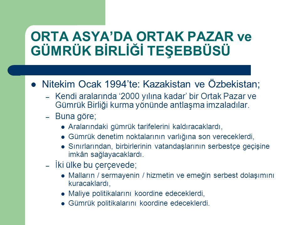 ORTA ASYA'DA ORTAK PAZAR ve GÜMRÜK BİRLİĞİ TEŞEBBÜSÜ Nitekim Ocak 1994'te: Kazakistan ve Özbekistan; – Kendi aralarında '2000 yılına kadar' bir Ortak