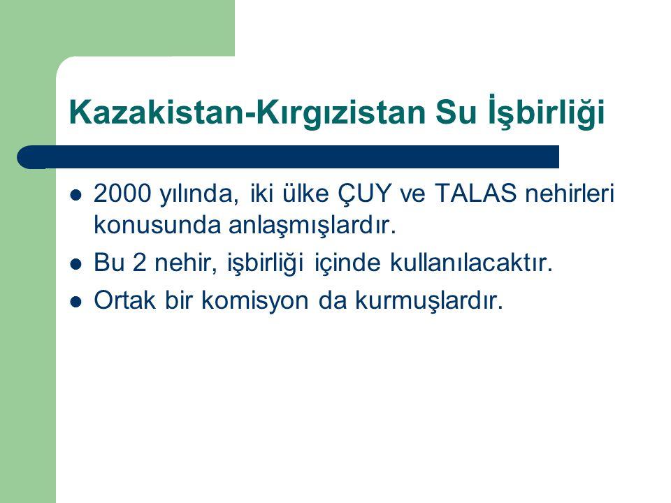 Kazakistan-Kırgızistan Su İşbirliği 2000 yılında, iki ülke ÇUY ve TALAS nehirleri konusunda anlaşmışlardır. Bu 2 nehir, işbirliği içinde kullanılacakt