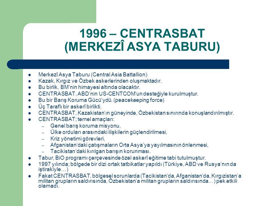 1996 – CENTRASBAT (MERKEZÎ ASYA TABURU) Merkezî Asya Taburu (Central Asia Battallion) Kazak, Kırgız ve Özbek askerlerinden oluşmaktadır. Bu birlik, BM