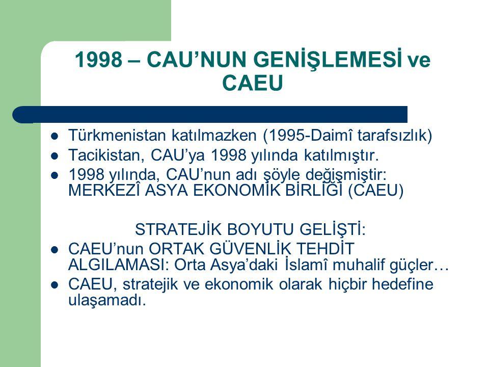 1998 – CAU'NUN GENİŞLEMESİ ve CAEU Türkmenistan katılmazken (1995-Daimî tarafsızlık) Tacikistan, CAU'ya 1998 yılında katılmıştır. 1998 yılında, CAU'nu