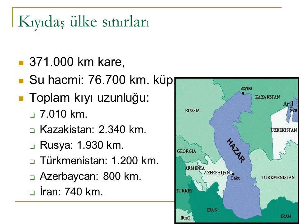 K ı y ı da ş ülke s ı n ı rlar ı 371.000 km kare, Su hacmi: 76.700 km. küp. Toplam kıyı uzunluğu:  7.010 km.  Kazakistan: 2.340 km.  Rusya: 1.930 k