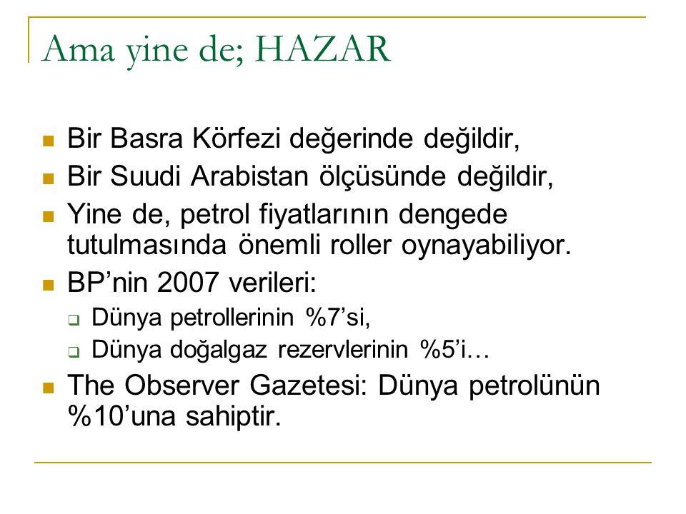 Ama yine de; HAZAR Bir Basra Körfezi değerinde değildir, Bir Suudi Arabistan ölçüsünde değildir, Yine de, petrol fiyatlarının dengede tutulmasında öne