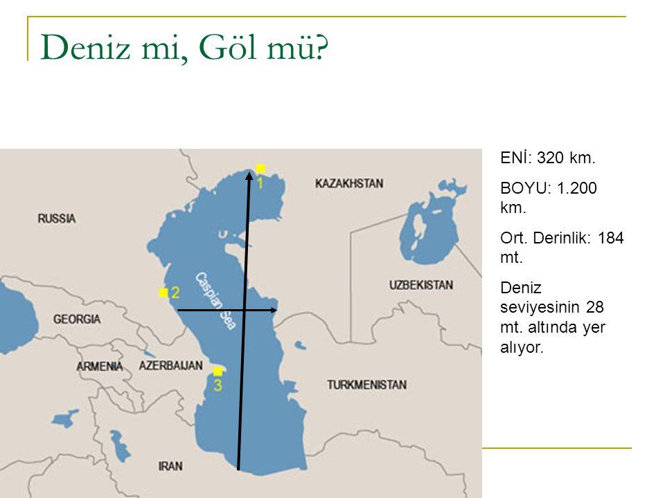Deniz mi, Göl mü? ENİ: 320 km. BOYU: 1.200 km. Ort. Derinlik: 184 mt. Deniz seviyesinin 28 mt. altında yer alıyor.